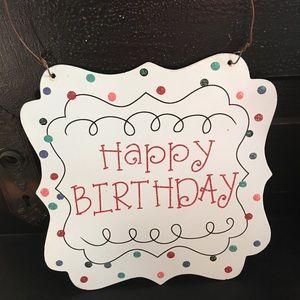 Happy birthday door hanger sign, aqua pink sparkle